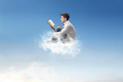 Young Man Reads Sitting On A Cloud by olly2