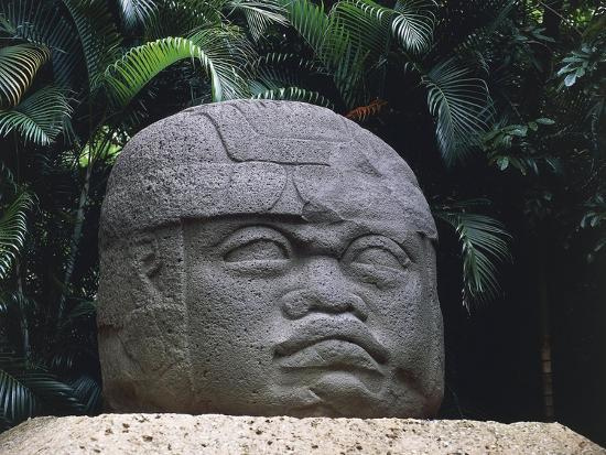 Olmec Civilization, Colossal Stone Head of a Warrior, 1100-475 B.C.--Giclee Print