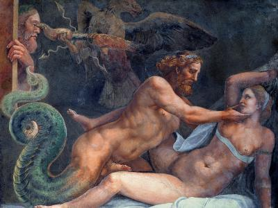 Olympia is Seduced by Jupiter, Whose Thunderbolt is Seized by an Eagle-Giulio Romano-Giclee Print