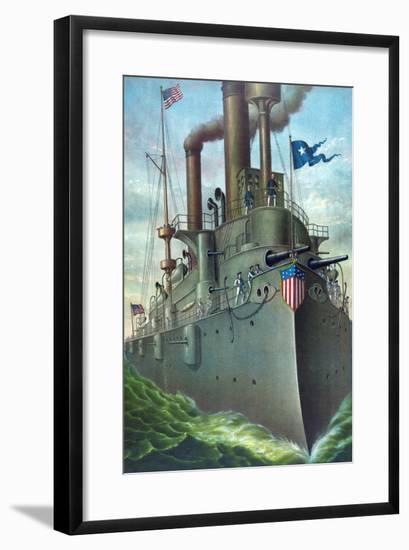 "Olympia Steel - Pittsburgh - Rear Admiral Dewey's Flagship ""Olympia""- Kurz-Framed Art Print"