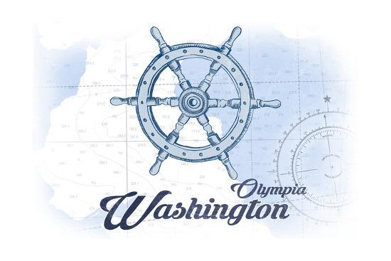 Olympia, Washington - Ship Wheel - Blue - Coastal Icon-Lantern Press-Art Print