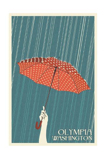 Olympia, Washington - Umbrella - Letterpress-Lantern Press-Art Print