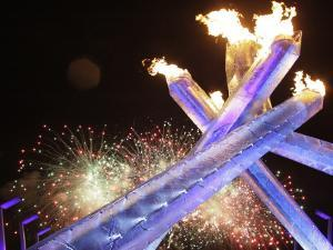 Olympic Flame Burns after the Opening Ceremony of the Vancouver 2010 Olympics