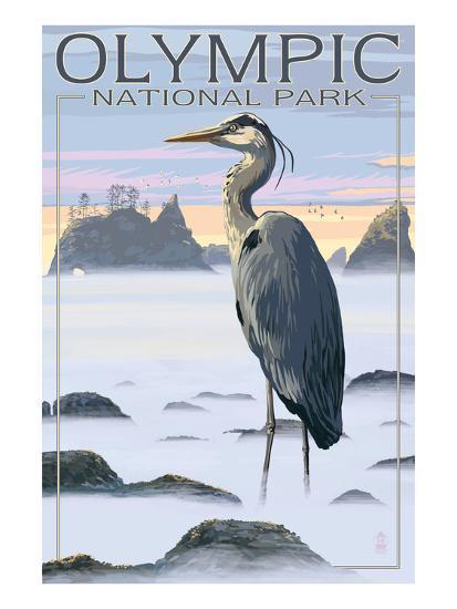Olympic National Park Heron And Fog Shorline Art Print By Lantern Press