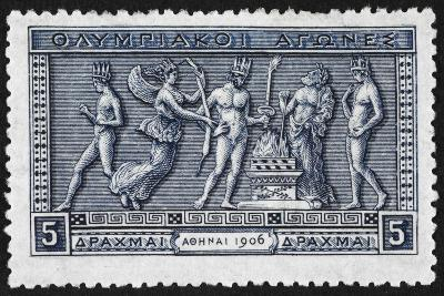 Olympic Offerings. Greece 1906 Olympic Games 5 Drachma, Unused--Giclee Print