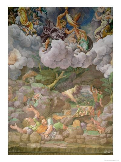 Olympus and Zeus Destroying the Rebellious Giants, Walls of the Sala Dei Giganti, 1530-32-Giulio Romano-Giclee Print
