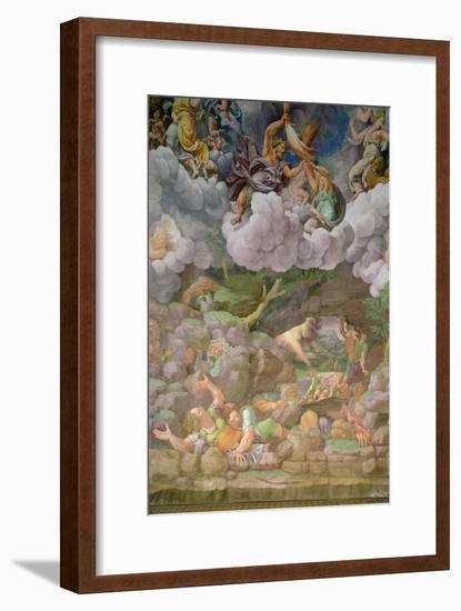 Olympus and Zeus Destroying the Rebellious Giants, Walls of the Sala Dei Giganti, 1530-32-Giulio Romano-Framed Giclee Print