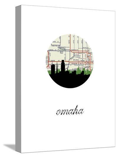 Omaha Map Skyline-Paperfinch 0-Stretched Canvas Print