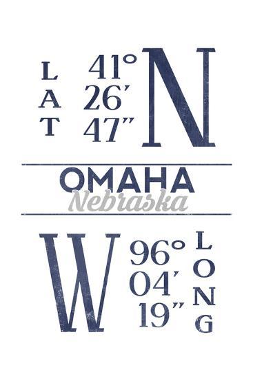 Omaha, Nebraska - Latitude and Longitude (Blue)-Lantern Press-Art Print