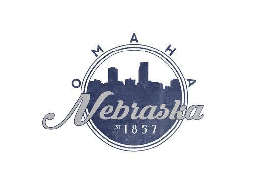 Omaha, Nebraska - Skyline Seal (Blue)-Lantern Press-Art Print