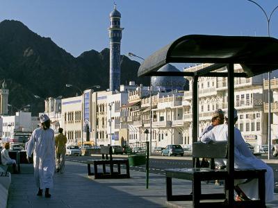 Omanis Walk and Sit Alongside Muttrah's Busy Corniche-John Warburton-lee-Photographic Print