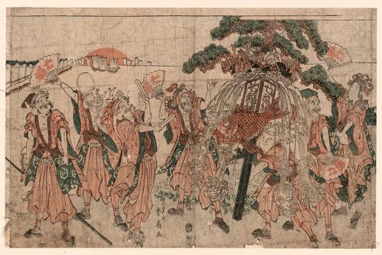 Omatsuri Shozoku No Shichifukujin-Katsukawa Shunsen-Giclee Print