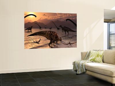 Omeisaurus and Parasaurolphus Dinosaurs Gather Together-Stocktrek Images-Wall Mural