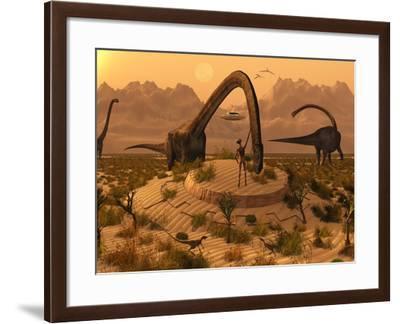 Omeisaurus Dinosaurs Communicating with Alien Reptoid Beings.-Stocktrek Images-Framed Photographic Print