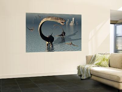 Omeisaurus Sauropod Dinosaurs Cooling Off in the Jurassic Waters of What Is Now China.-Stocktrek Images-Wall Mural