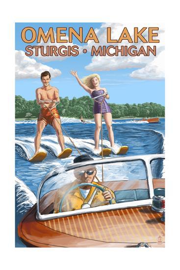 Omena Lake - Sturgis, Michigan - Water Skiing and Wooden Boat-Lantern Press-Art Print