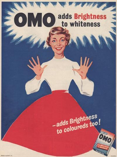 Omo, Washing Powder Detergent, UK, 1950--Giclee Print