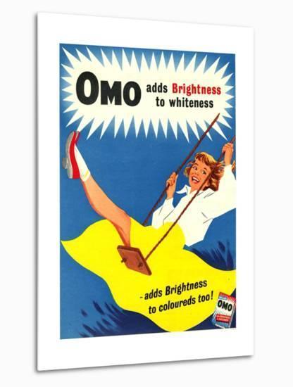 Omo, Washing Powder Products Detergent, UK, 1950--Metal Print
