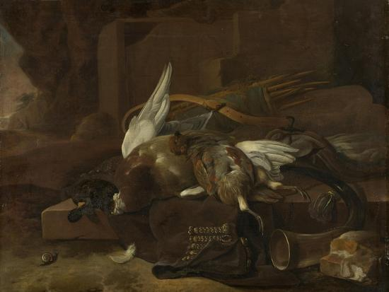 On a Stone Plinth are a Duck and a Partridge Hunting Gear-Melchior d'Hondecoeter-Art Print