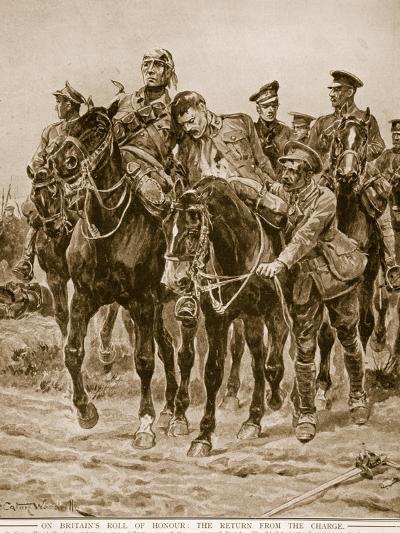 On Britain's Roll of Honour: The Return from the Charge-Richard Caton Woodville-Giclee Print