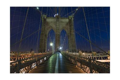 On Brooklyn Bridge Night 2 (Walkway, Arches)-Henri Silberman-Photographic Print
