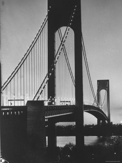 On Eve of Bridge Opening, Looking from Brooklyn to Staten Island-Dmitri Kessel-Photographic Print