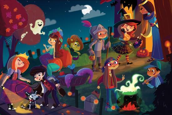 On Halloween Night - Jack & Jill-Tatevik Avakyan-Giclee Print