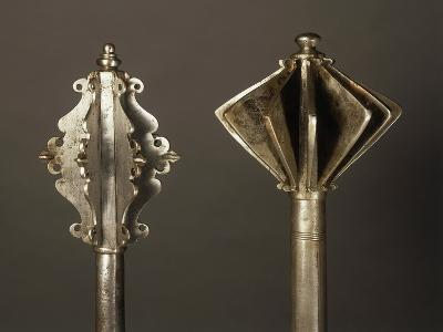 On Left, Mace in Steel, Made in Germany in 1550, on Right, Mace in Steel, Made in Hungary--Giclee Print