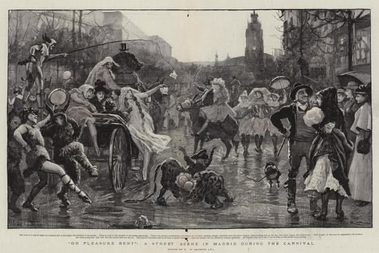 On Pleasure Bent, a Street Scene in Madrid During the Carnival-Robert Walker Macbeth-Giclee Print
