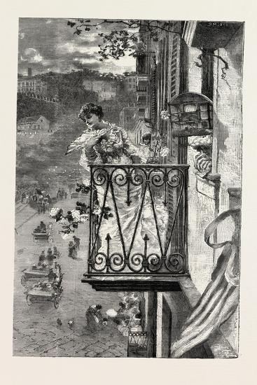 On the Balcony at Naples, Italy, 1882--Giclee Print