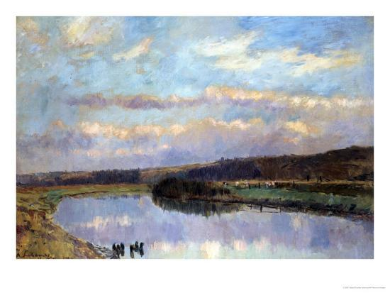 On the Banks of the Dardent at Veullettes-Albert-Charles Lebourg-Giclee Print