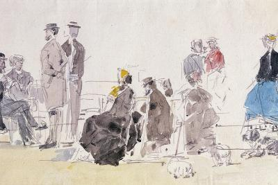 On the Beach, 1866-Eug?ne Boudin-Giclee Print