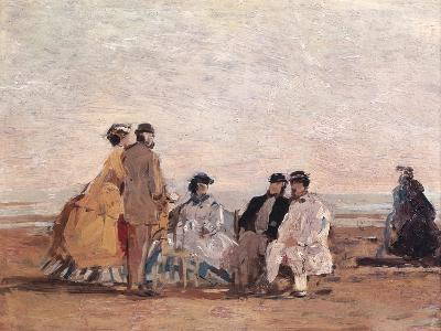 On the Beach at Trouville, circa 1865-Eug?ne Boudin-Giclee Print