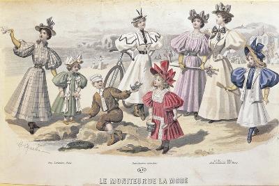 On the Beach. from Moniteur De La Mode, 1895--Giclee Print