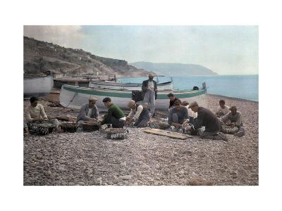 On the Beach of Bordighera, Fishermen Gather Supplies for Work-Hans Hildenbrand-Photographic Print