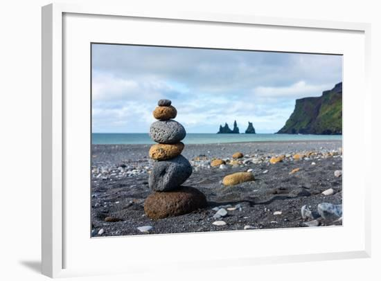 On the Beach of Vik, in the Background the Rock Needles Reynisdrangar-Catharina Lux-Framed Photographic Print