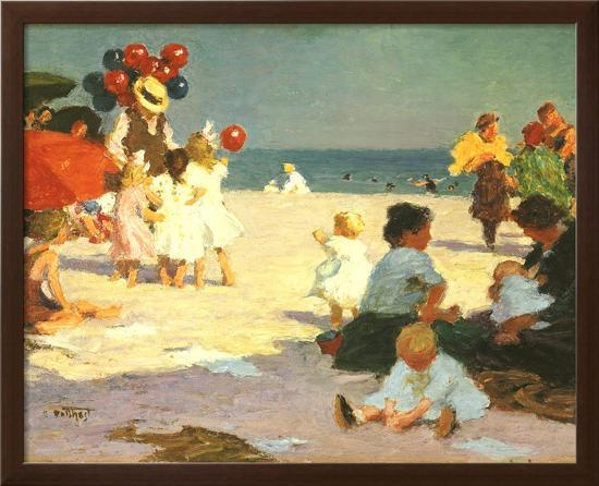 On the Beach (Potthast)-Edward Henry Potthast-Framed Textured Art