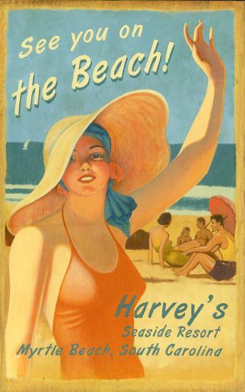 On the Beach Vintage--Wood Sign