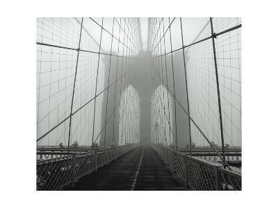 On The Brooklyn Bridge, Fog, Horizontal-Henri Silberman-Photographic Print