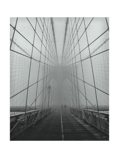 On The Brooklyn Bridge, Fog, People-Henri Silberman-Photographic Print