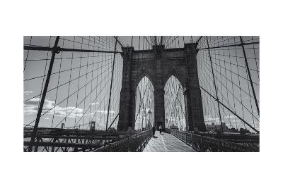 On the Brooklyn Bridge Shadows  Panorama-Henri Silberman-Photographic Print
