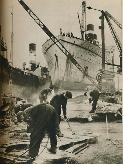 'On the Firth of Forth. Shipbreaking at Bo'ness West Lothian', 1937-Unknown-Photographic Print
