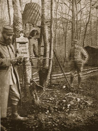 On the French Lorraine Front: a Poilu's Camp Letter-Box and Buzzard Mascots-English Photographer-Giclee Print
