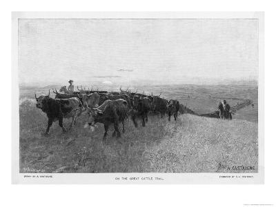 On the Great Abilene Cattle Trail from Texas-G^h^ Del'orme-Giclee Print