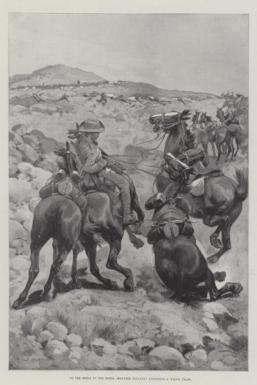 On the Heels of the Boers, Mounted Infantry Attacking a Wagon Train-Sir Frederick William Burton-Giclee Print