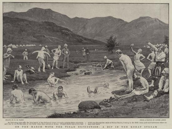On the March with the Tirah Expedition, a Dip in the Kohat Stream-Henry Marriott Paget-Giclee Print