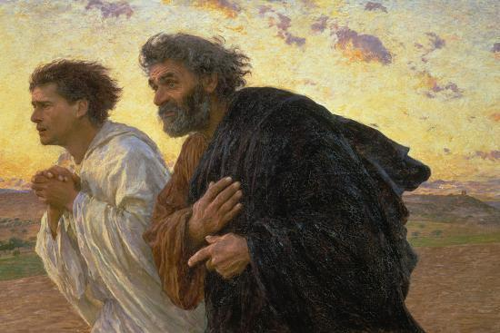 On the Morning of the Resurrection, the Disciples Peter and John on their Way to the Grave-Eugene Burnand-Giclee Print