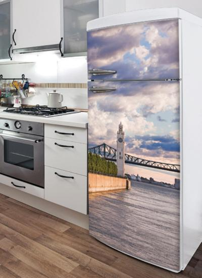 On the Riverfront Refrigerator Decal--Wall Decal
