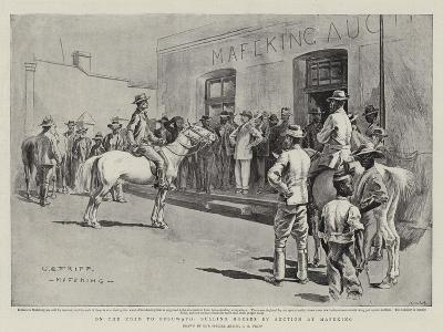 On the Road to Bulawayo, Selling Horses by Auction at Mafeking-Charles Edwin Fripp-Giclee Print