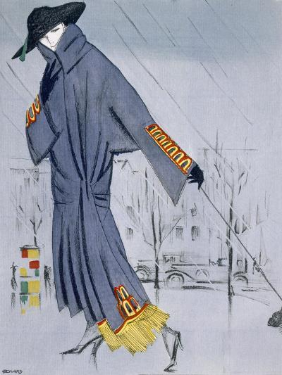 On the Street, Illustration of a Woman in a Coat by V. Manheimer--Giclee Print